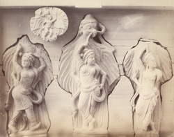 Four sculpture pieces from Rhode Tope, Sanghao, Peshawar District: Garuda and Nagini
